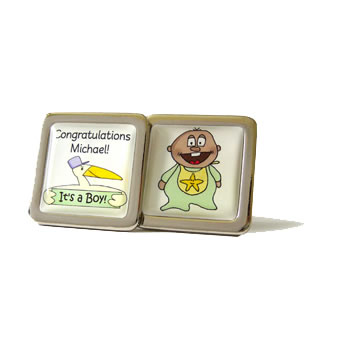 Stork And Baby Green Gerry Personalised Cufflinks