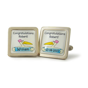 Stork Multi Personalised V2 Blue Cufflinks