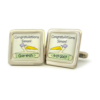 Stork Multi Personalised V2 Green Cufflinks