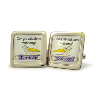 Stork Multi Personalised V2 Lilac Cufflinks