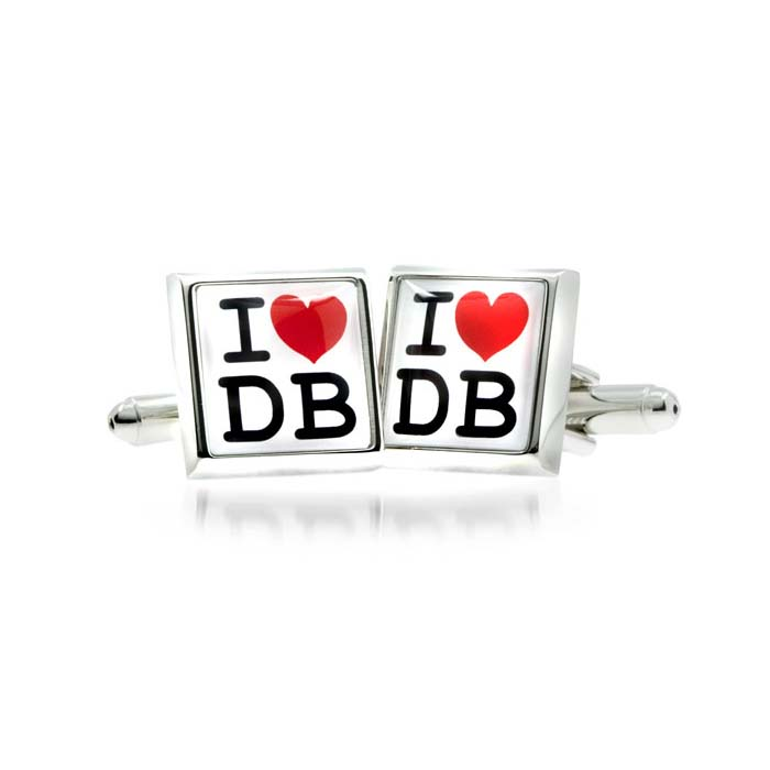 I Love Heart Initial Personalised Cufflinks