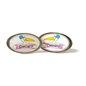 Special Delivery Stork Pink Oval Cufflinks