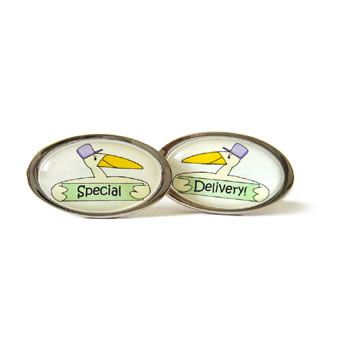 Special Delivery Stork Green Oval Cufflinks
