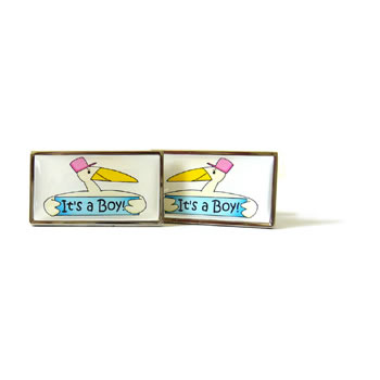 Its A Boy Blue Stork Cufflinks