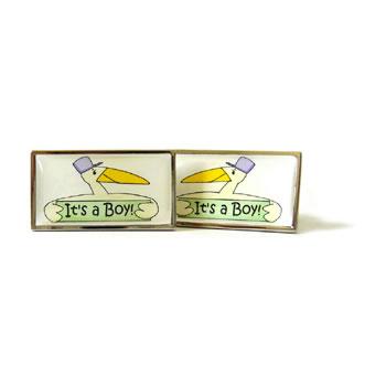 Its A Boy Green Stork Cufflinks
