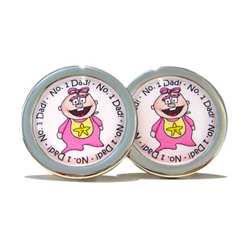 Number 1 Dad Pink Penny Cufflinks