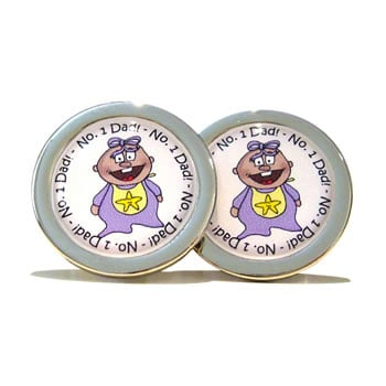 Number 1 Dad Lilac Lily Cufflinks