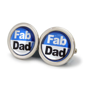 Fab Dad Azure Blue Round Cufflinks