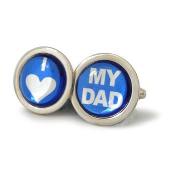 I Love My Dad Azure Blue Round Cufflinks
