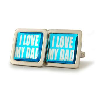 I Love My Dad Aquamarine Square Cufflinks
