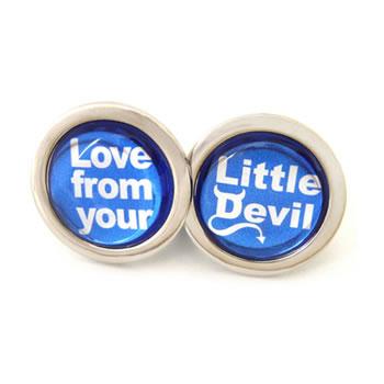 Love From Your Little Devil Round Cufflinks