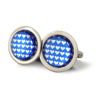 Little Silver Love Hearts Azure Blue Round Cufflinks