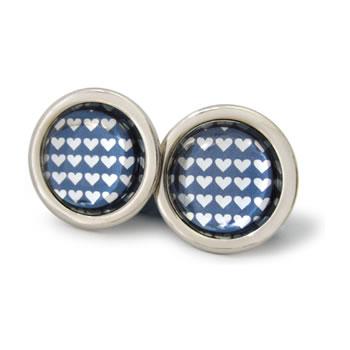 Little Silver Love Hearts Graphite Round Cufflinks