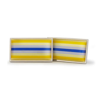 Blue And Yellow Stripes Rectangle Cufflinks