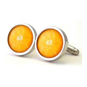 Zesty Orange Round Cufflinks