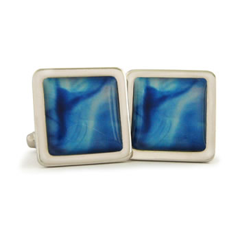 Blue Aura Cleansed Square Cufflinks