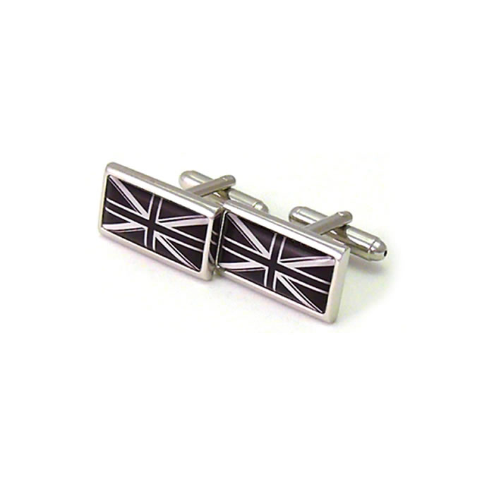 Black Rectangular Union Jack Cufflinks