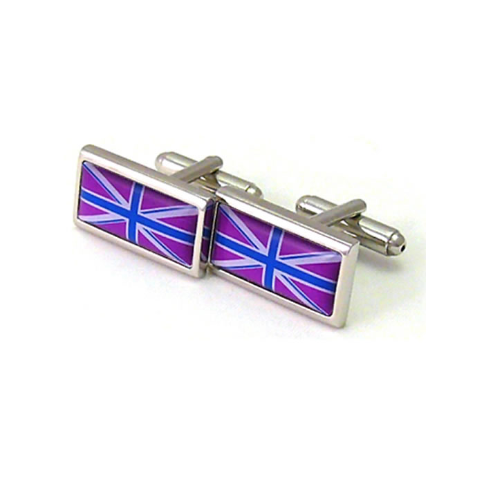 Deep Purple And Blue Union Jack Cufflinks
