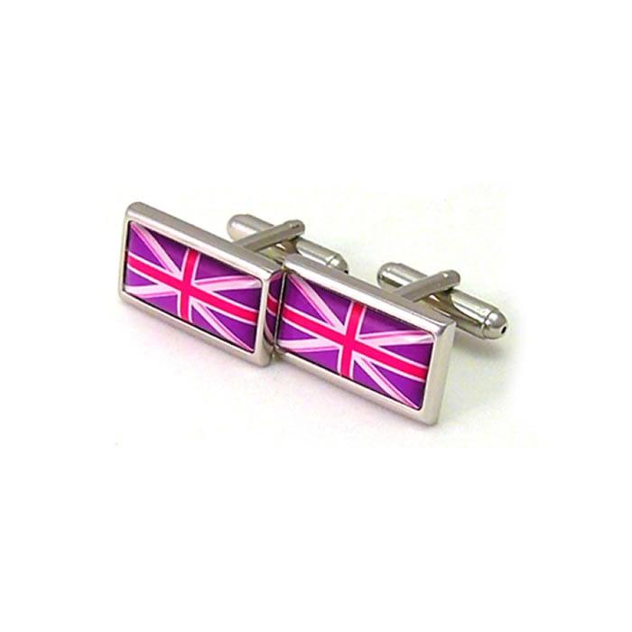 Deep Purple And Cerise Union Jack Cufflinks