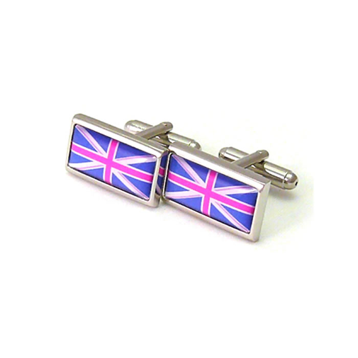 Blue And Magenta Union Jack Cufflinks
