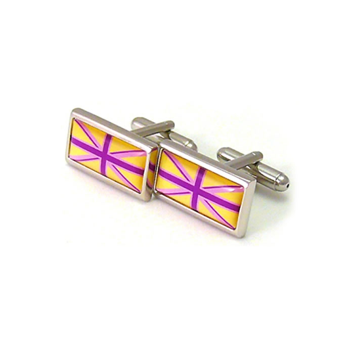Yellow And Purple Tones Union Jack Cufflinks