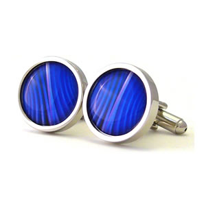 Blue Mystique Round Cufflinks