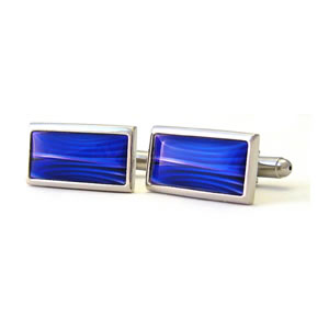 Blue Mystique Rectangle Cufflinks