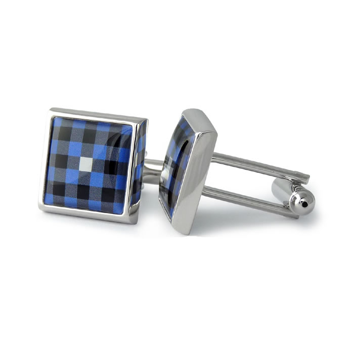 Blue Check Square Cufflinks