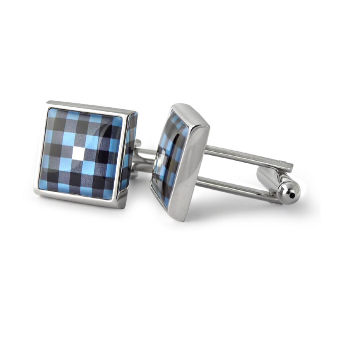 Pale Blue Check Square Cufflinks