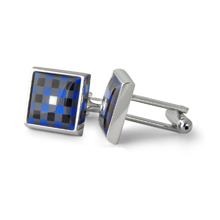 Blue And Grey Check Square Cufflinks