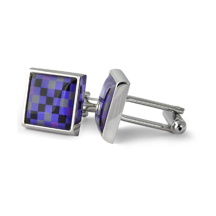 Purple And Grey Squares Black Cross Square Cufflinks