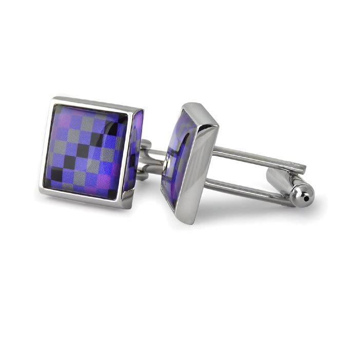 Purple And Grey Squares Black Stripe Square Cufflinks