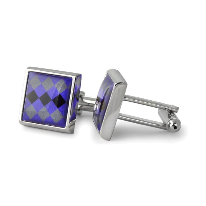 Tri Colour Diamonds Square Cufflinks