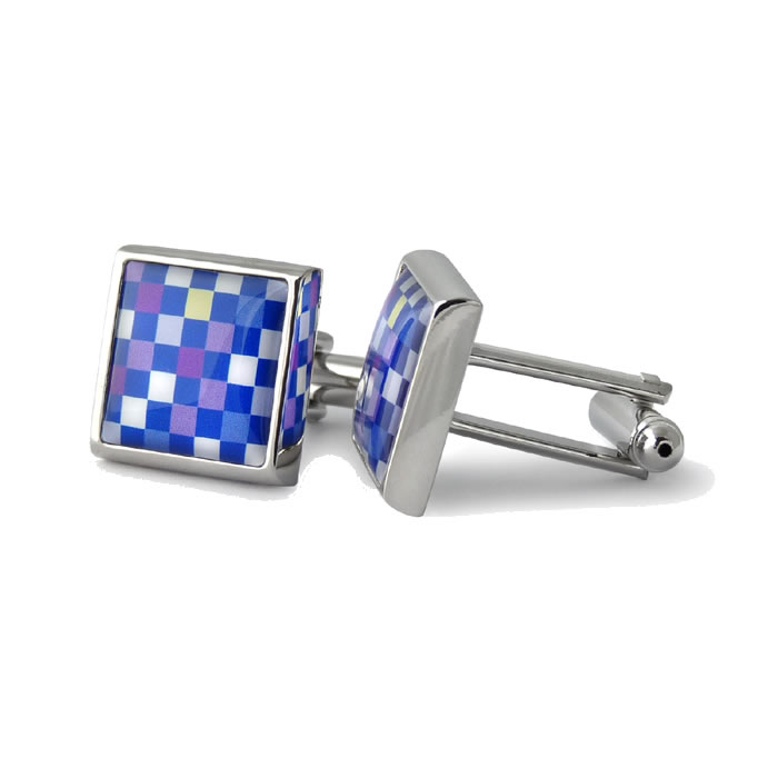 Multi Colour Chess Board Checks Square Cufflinks