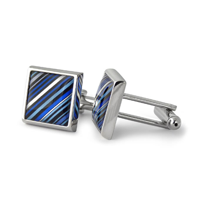 70s Tie Diagonal Stripes Blue Square Cufflinks