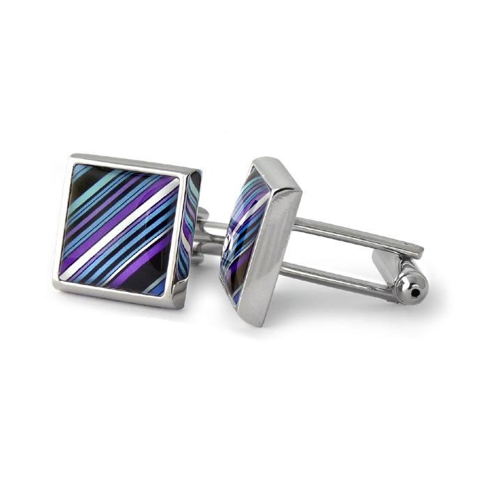 70S Tie Diagonal Stripes Purple Square Cufflinks