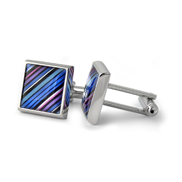70S Tie Diagonal Stripes Aqua Pink Square Cufflinks