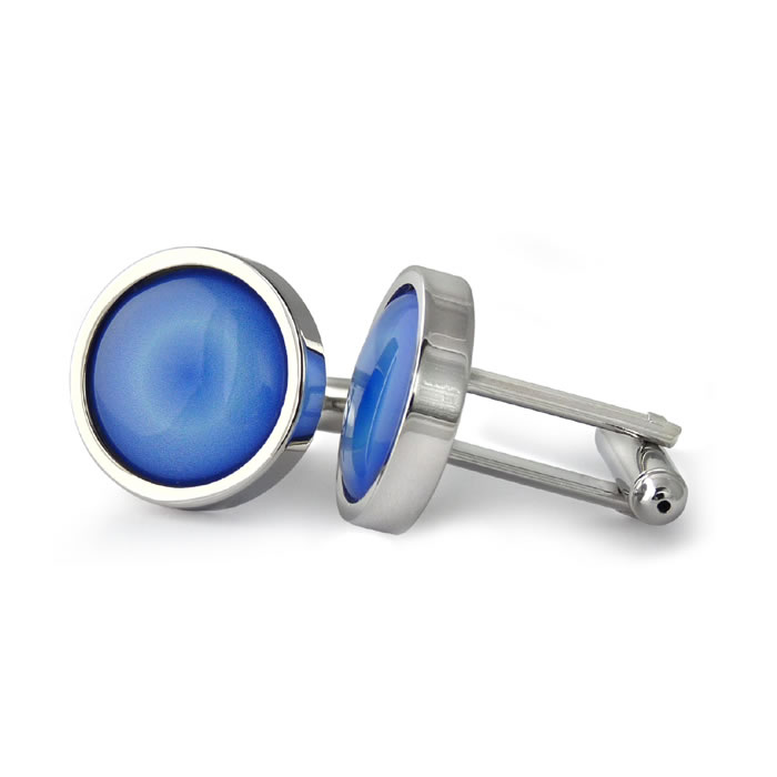 Radiant Blue Round Cufflinks