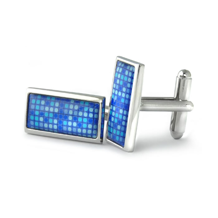 Blue Dot Mosaic Rectangle Cufflinks