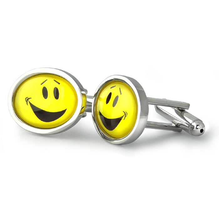 Yellow Smiley Faces Oval Cufflinks