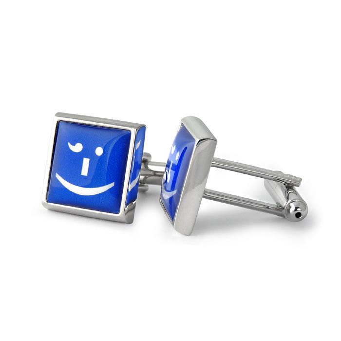 Cheeky Winker Text Speak Blue Square Cufflinks