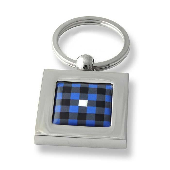 Blue Check Square Keyring