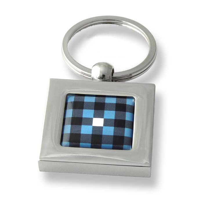 Pale Blue Check Square Keyring
