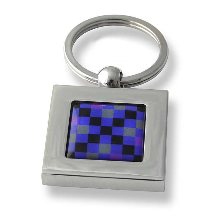 Purple And Grey Squares Black Cross Square Keyring