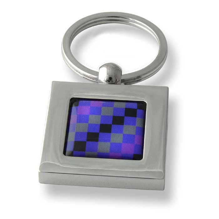 Purple And Grey Squares Black Stripe Square Keyring
