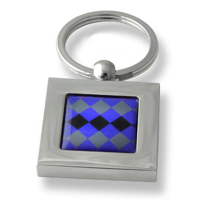 Tri Colour Diamonds Square Keyring
