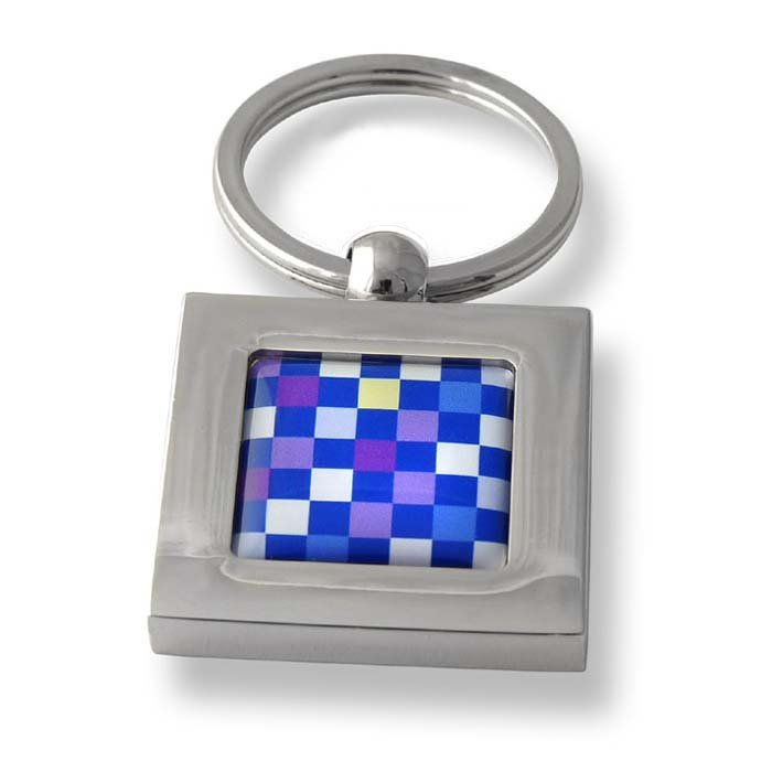 Multi Colour Chess Board Checks Square Keyring