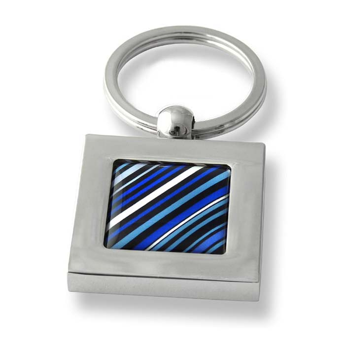 70S Tie Diagonal Stripes Blue Square Keyring