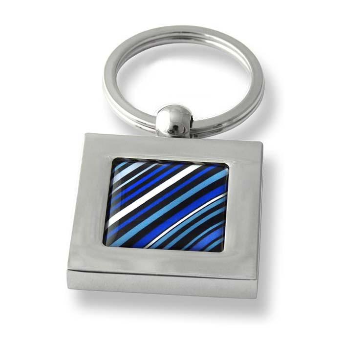 70S Tie Diagonal Stripes Blue Square Keyring