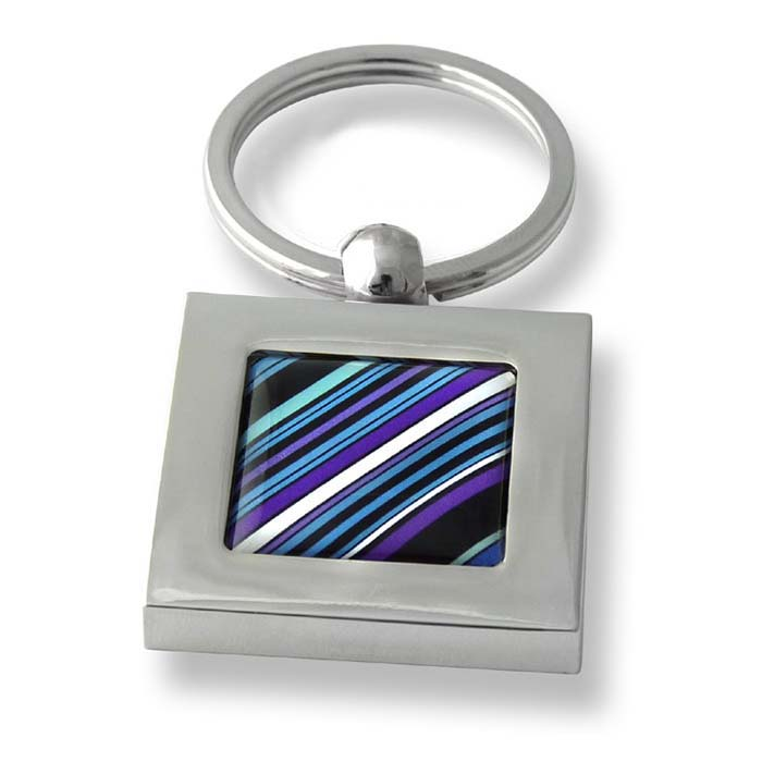 70S Tie Diagonal Stripes Purple Square Keyring